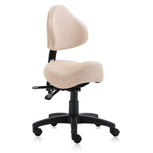 DR.LOMILOMI Hydraulic Saddle Rolling Clinic Spa Massage Stool Chair with Back Rest (510-With Backrest, Vanilla)