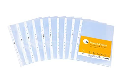perfect line 100 Prospekt-Hüllen DIN-A4 glasklar, Premium Klar-Sicht-Folien extra stark (120 µ), farblos & transparent, Sammel-Taschen zum Schutz von Papier, Akten & Dokumenten im Ordner
