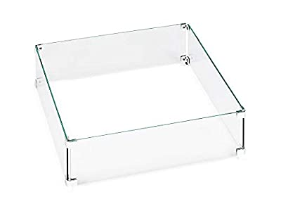 Hiland Fire Bowl Glass Square Wind Protection from HILAND
