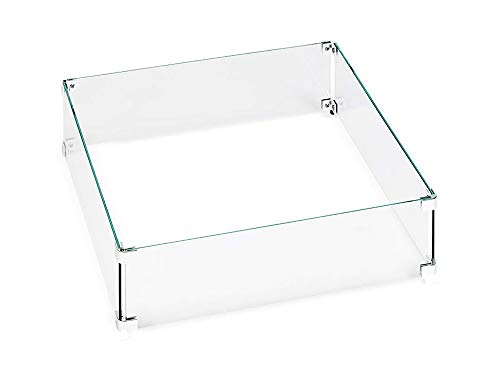 Hiland Fire Bowl Glass Square Wind Protection