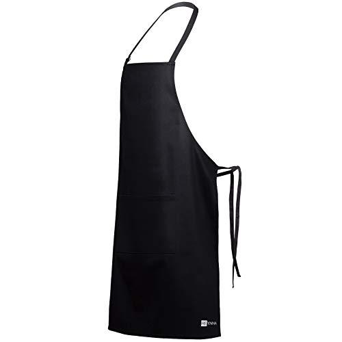 HEYNNA® Delantal de Cocina / Delantal de Chef Premium - 100% Algodón – Resistente y Fácil de Limpiar – Delantal de Cocina Hombre y Mujer - Perfecto para Barbacoas y Repostería (Negro)