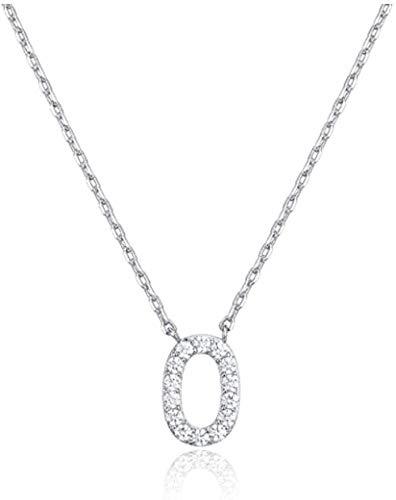 DUEJJH Co.,ltd Collar Collar con Letra Inicial En Circonita Cúbica Chapada En Oro Blanco para Mujer