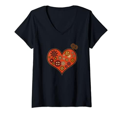Mujer Amor Steampunk Reloj Corazón mecánico engranaje fantasía Camiseta Cuello V