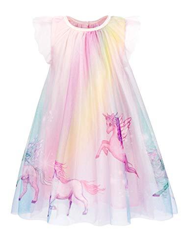 Jurebecia Vestidos de Unicornio Arcoiris para niñas Vestido de Princesa Encaje Tul Falda
