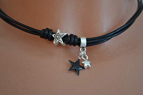 Leder-Kette mit Sternen