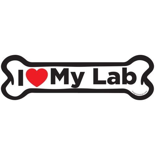 Magnet Me Up I Love My Lab Dog Bone Car Magnet - 2x7 Dog Bone Auto Truck Decal Magnet