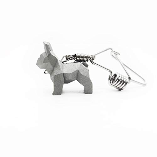 MOODTOWN Handcrafted Stainless Steel Dog Keychain Gift for Men and Women Car Keyring Car Rear View Mirror Hanging Accessory (French Bulldog)