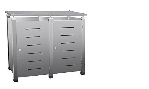 Mülltonnenverkleidung, Modell Pacco E Line1 für zwei 240 Liter Tonnen in Edelstahloptik