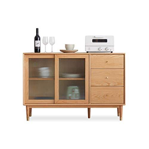 N/Z Home Equipment Sideboards Sideboard Moderner minimalistischer Teeschrank Restaurantschrank Nordic Oak Mikrowellenschrank für Wohnzimmer (Farbe: Braun Größe: 120x40x80cm)
