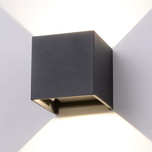 Midore Lámpara de pared interior exterior 12 W LED COB lámpara de pared Up Down ajustable haz de luz IP65 Moderno aluminio iluminación de pared para pasillos/balcones/salón 4000 K