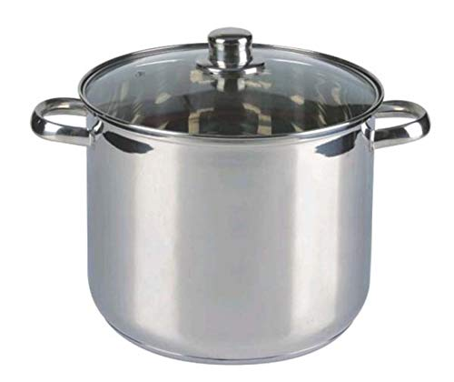 10 Liter großer Induktions-Kochtopf mit Dampfabzugs-Glasdeckel / Großraumtopf aus Edelstahl (induktionsfähig)