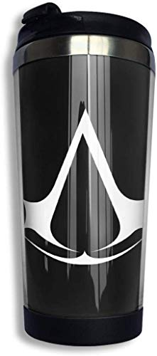 Qurbet Kaffeebecher Thermobecher mit Schraubdeckel, Assassin Creed Video Game Coffee Cups Stainless Steel Water Bottle Cup Travel Mug Coffee Tumbler with Spill Proof Lid