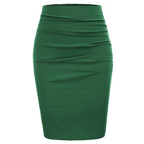 NP Falda de mujer retro de color sólido plisado elegante de la cadera envuelto apretado lápiz falda, verde, 36