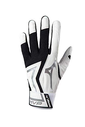 Mizuno MVP Baseball Batting Gloves, Adult Medium, White/Black
