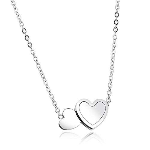 N/W Stainless Steel Double Heart Rose Gold Opal Stone Pendant Necklace Mini Heart Jewelry Necklaces Gift -silver