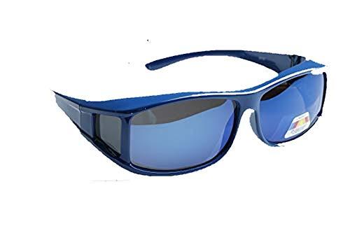Matecs polarisierte Sonnen-Überziehbrille Blau für Brillenträger UV 400 CAT3 für SIE & IHN