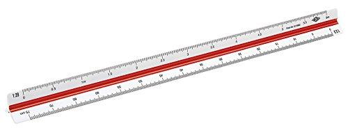 Wedo 5255002 Dreikantmaßstab (Ingenieur DIN, aus Kunststoff, 30 cm, Skalierung 1:2.5, 1:5, 1:10, 1:20, 1:50, 1:100) weiß