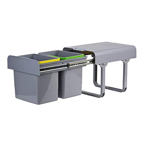 TronicXL Afvalbak/vuilnisemmer Afvalemmer voor inbouw in kast 2x15 ltr. 2 vakken keuken uittrekbaar uitschuifbaar rail keuken keuken afval emmer