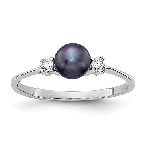 14k White Gold Black Freshwater Cultured Pearl Diamond Ring (5mm), Size 6