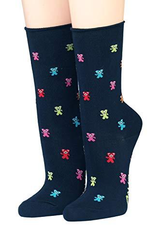 CRÖNERT Socken Longsocks mit Rollsaum Design Gummibärchen 18512 marine(35-38)