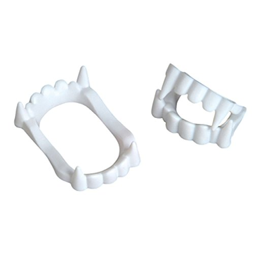 Neliblu 24 White Vampire Fangs, Plastic Teeth, Costume Accessory Halloween Party Favors