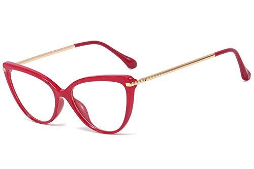 BOZEVON Las Gafas De Bloqueo Con Luz Azul Evitan La Fatiga Ocular, Las Gafas De Venta Libre, El Marco Retro De Ojo De Gato Femenino De Metal,Rojo