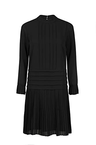 Steps Damen - Lucille - Knielänges Kleid Aus Luxuriösem Chiffon - Rundhals - Schwarz Schwarz, 042