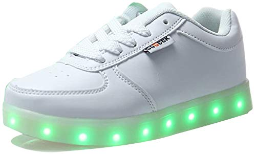 DoGeek LED Light Up Shoes for Unisex Kids Casual Trainers 7 colors Sneakers-Blanc and Black-USB Charger - 39 EU - Blanc