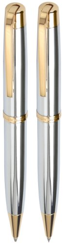 Marquis by Waterford Metro Ball Pen and Mechanical Pencil Set, Chrome Gold (WM 828 CH G)