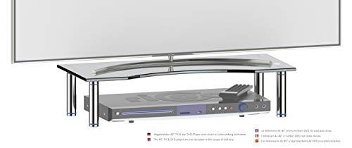 RICOO FS5624-B TV Board Tisch-Aufsatz Glas Schwarz 56x24x10 cm Bildschirm-Erhöhung Hi-Fi Rack Regal Bildschirm-Ständer Podest