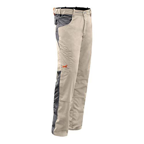 strongAnt - Pantalones de trabajo completamente elásticos para hombre Berlin. Cremallera YKK + botón de metal YKK blanco – negro gris – Fabricado en la UE Beige Grey 260Gm 5 años