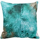 Gary S.Shop Turquoise, Brown and White Exotic Cowhide Home Decor Pillow Case 18 x 18 Inch