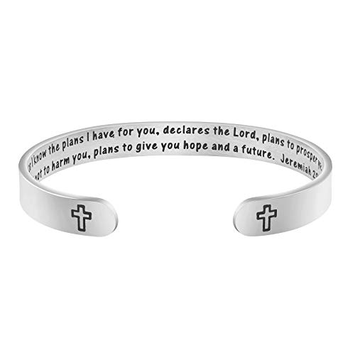 Joycuff Jer 29:11 Scripture Jewelry Bible Verse Christian Religious Gift for Her Mantra Bangle Bracelet for I Know The Plans I Have for You