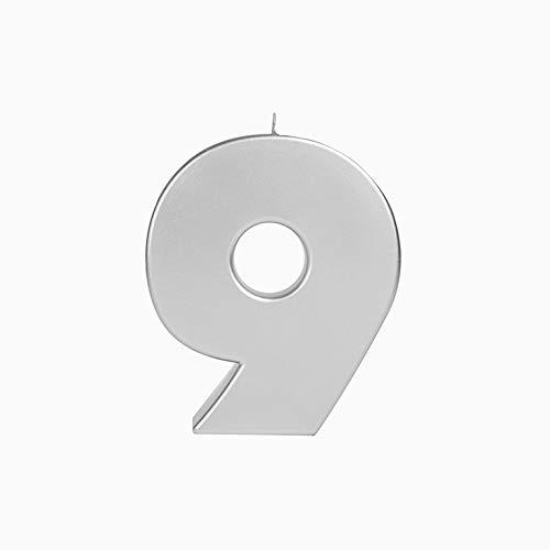 Velas extra grande 20 cm para cumpleaños número 9 color plata metalizado...