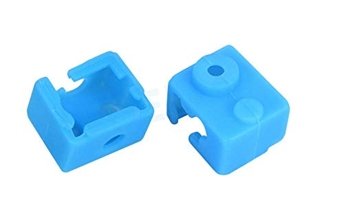 5 Piezas de Funda de Silicona para Impresora 3D, Funda Protectora de Silicona de Bloque de Aluminio ED3-V6, Funda de Silicona para Bloque Calefactor, Resistencia a Altas Temperaturas, Azul