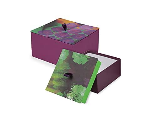 Clairefontaine 115468C - Un Lot de 2 Boites de Rangement Carrées Multifonctions en Carton décors Floraux - 2 Tailles 20 x 20 x 14 cm - 16 x 16 x 11 cm - Collection Egérie