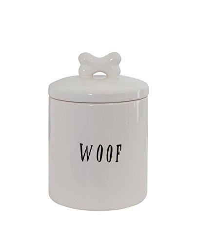 Creative Co-op DA5576 Woof Ceramic Dog Treat Jar, With Bone Handle, White