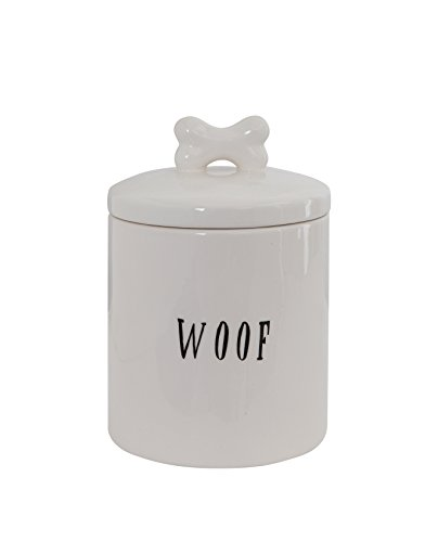 Creative Co-op Woof Ceramic Dog Treat Jar with Bone Handle in Lid, 6' Round x 8.5' Tall, White