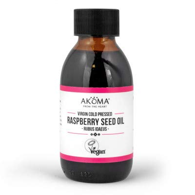 Akoma Cold Pressed Raspberry Seed Oil 100ml | 100% Natural, Virgin, Vegan | Rich in Vitamin E & A, Omega 3, 6 Essential Fatty Acid | Ideal for Natural Sunscreen & DIY Beauty Recipe