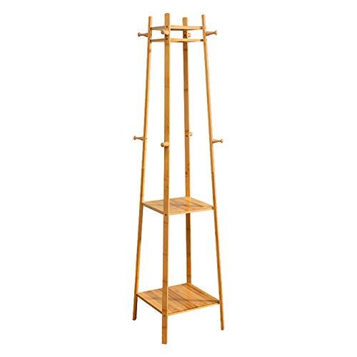 Clásico Soporte del soporte del soporte del soporte del bastidor, de madera, 8 ganchos, estante de 3 niveles, soporte de carga fuerte, estable, vestía de salón de dormitorio para ropa de almacenamient