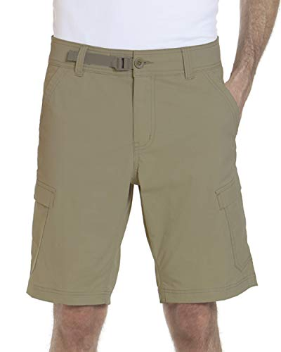 ZeroXposur Mens Stretch Cargo Shorts 6 Pocket Venture Flat Front Woven Hiking Shorts for Men (36, Oak)