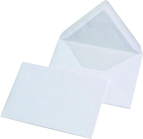 100 Briefumschläge Din C6 weiss mit Seidenfutter 80g/m²