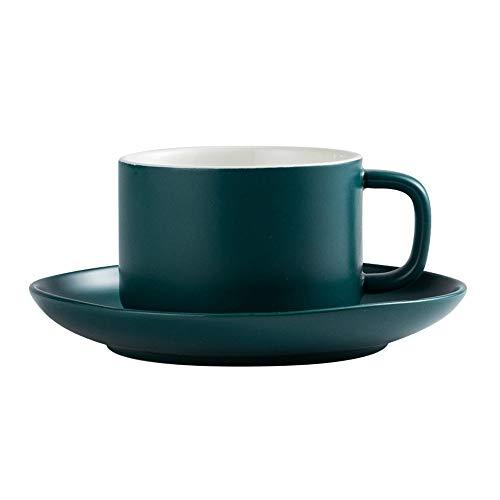 SXXYTCWL Taza de café Cerámica Matte Matte Alta Temperatura Café de café y platillo Inicio Oficina Tarde Tea Tea Utensilios Latte Cup Fabricante de café Accesorios Conjunto 200ml (Verde)