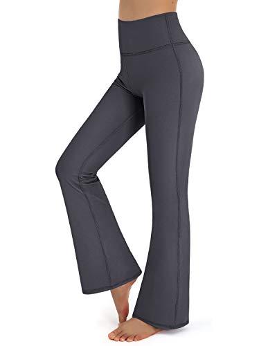 Promover Yoga Pants Bootleg Grey Workout Running Bootleg Pants with Tummy Control High Waisted Long Boot-Cut Yoga Dress Pants (Grey,S)