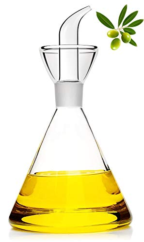 HAIZEEN [480ml Distributore in Vetro per Olio d'Oliva e Aceto, Ampolla in Vetro, con Beccuccio Antigoccia per Cucina e Barbecue