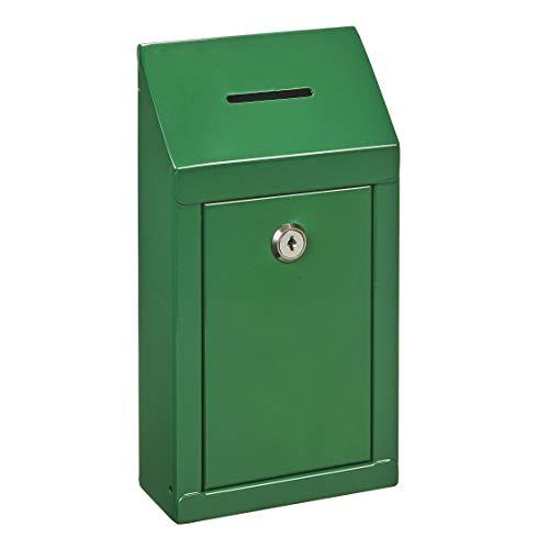 Spendenbox aus Metall zur Wandmontage oder für die Arbeitsplatte, mit Münzschlitz, Schloss mit 2 Schlüsseln grün