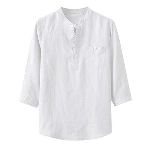 TUDUZ Camisetas Hombre Manga Larga 3/4 Color Slido Camisas Algodon Y Lino Tops Botn Ropa De Cuello Alto (Blanco, XXL)