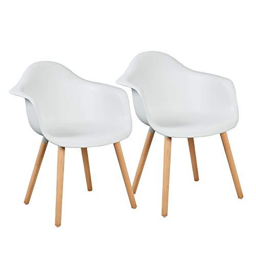 LLIVEKIT 2 x Esszimmerstühle,Schalenstuhl mit Armlehnen, 2er-Set Retro Stück Esszimmerstuhl mit Lehne Design und Holz Bein für Wohnzimmer Küche Büro Weiss