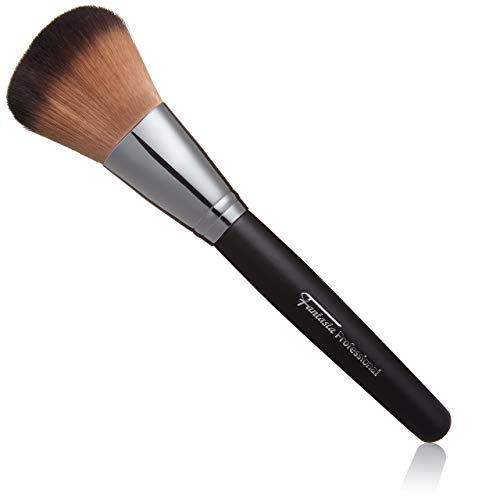 Make Up Puderpinsel vegan: Professioneller Makeup Pinsel für Puder, Rouge, Foundation - feinstes Toray Haar, Schminkpinsel Kunsthaar Schwarz - 22cm, Gesichtspinsel von Fantasia