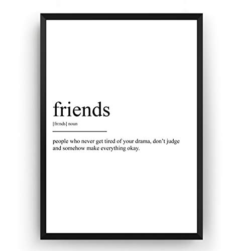 Friends Definition Print - Poster Wall Art Quote Typography Home - Frame Not Included